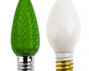 C7 LED Bulb, 3 LED: Profile View with Size Comparison to Incandescent Bulb