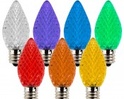 C7 LED Bulbs - Faceted Replacement Christmas Light Bulbs