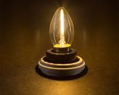 LED Vintage Light Bulb - C7 LED Candelabra Bulb w/ Filament LED and Blunt Tip - 2W: Turned On