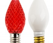 C7 LED Bulbs - Diamond Faceted Replacement Christmas Light Bulbs: Profile View with Size Comparison to Incandescent Bulb