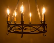 LED Filament Bulb - Gold Tint CA10 LED Candelabra Bulb with 4 Watt Dimmable Filament LED, Bent Tip: Installed In Chandelier
