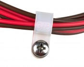 """3/8"""" Cable Clamp - White Nylon - Size 10 Screw: Shown With Screw And Wires (Not Included)."""
