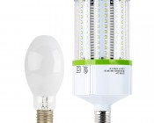 LED Corn Light - 390W Equivalent Incandescent Conversion - E26/E27 Base - 3,900 Lumens:  Profile View with Size Comparison to Incandescent Bulb