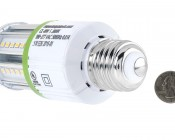 LED Corn Light - 50W Equivalent Incandescent Conversion - E26/E27 Base - 500 Lumens: Back View with Size Comparison