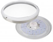 """14"""" Brushed Nickel Dimmable LED Flush Mount Ceiling Light: Twist Off Lens To Access Mounting Holes"""