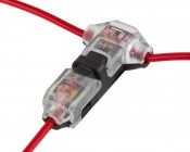 """Clear 24-18 AWG """"T"""" Tap Wire Splice Connectors - Single, Dual Channel"""
