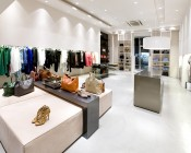 BR40 LED Bulb - 18 Watt - Dimmable LED Flood Light Bulb: Shown Installed In Clothing Store In Natural White.