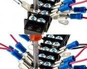 """Stackable 1/4"""" Push-On Terminal Adapter - 16-14 AWG: Push-On Terminal Adapter Being Installed on Terminal Block"""