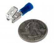 """Stackable 1/4"""" Push-On Terminal Adapter - 16-14 AWG: CMFP-1614 Quarter Comparison"""