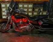 Motorcycle - Color Changing Weatherproof RGB LED Glow Strip Accent Lighting Kit: Shown Installed On Motorcycle.