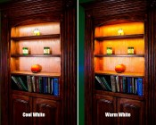 Variable Color Temperature LED Flexible Light- Installed In Shelves Cool White Compared to Warm White