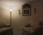 LED Corn Light - 50W Equivalent Incandescent Conversion - E26/E27 Base - 500 Lumens: Installed In Living Room In Warm White.