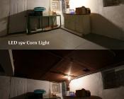 LED Corn Light - 160W Equivalent Incandescent Conversion - E26/E27 Base: Shown Compared 150W Incandescent Bulb.