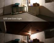 LED Corn Light - 220W Equivalent Incandescent Conversion - E26/E27 Base: Shown Compared To 150W Incandescent Bulb.