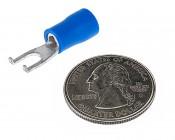 16-14 AWG #6 Flanged Block Spade : Quarter Size Comparison