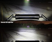 "50"" Off Road Curved LED Light Bar - 288W: Straight LED Light Bar (top) vs Curved LED Light Bar (bottom) Aimed At Treeline 100 Feet Away"