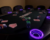 LED Angel Eye Headlight Accent Lights: Installed Around Cup Holders on Poker Table