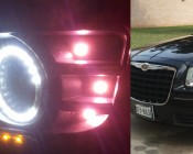 LED Angel Eye Headlight Accent Lights with T3-1/4 Adapter: Installed in Fog Light Area