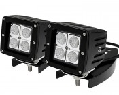 D-Series ATV Handlebar Mount: Auxiliary LED Light Installed On Mount