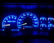194 LED Bulb - 3 SMD LED - Miniature Wedge Retrofit: Shown Illuminating Dashboard In Blue.
