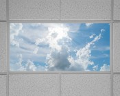 Even-Glow LED Panel Light - Sun Beams LUXART Print - Dimmable - 2' x 4': Installed in Drop Ceiling