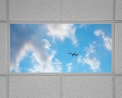 Even-Glow LED Panel Light - Jet Set LUXART Print - 2' x 4': Installed in Drop Ceiling