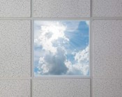 Even-Glow LED Panel Light - Sun Beams LUXART Print - Dimmable - 2' x 2': Installed in Drop Ceiling