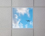Even-Glow LED Panel Light - Jet Set LUXART Print - 2' x 2': Installed in Drop Ceiling