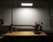 Dimmable 36W LED Panel Light Fixture - 1ft x 2ft: Shown Installed Over Workbench.