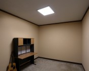 Dimmable 40W LED Panel Light Fixture - 2ft x 2ft: Shown Installed With Flush Mount Kit.