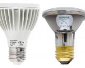 PAR20 LED Bulb - 8W Dimmable LED Spot Light Bulb: Profile View with Size Comparison to Incandescent PAR20 Bulb
