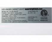 "Dimmable Under Cabinet LED Lighting Fixture w/ Rocker Switch - 16.5"" - 440 Lumens: Close Up of Label"