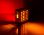 Double Face Square Pedestal Lamp: LED Lamp On Showing Front and Back Amber and Red Lights As Well As Side Amber Light