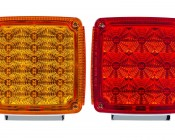Double Face Square Pedestal Lamp: Front and Back View Of LED Pedestal Lamp Showing Both The Red And Amber Lenses.