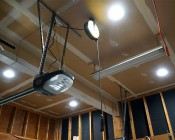 """8"""" Can Free LED Downlights - 190 Watt Equivalent - Integral Junction Box - 1,900 Lumens: Shown Installed In Garage Ceiling In Natural White."""