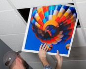 Even-Glow® LED Panel Light - Jet Set LUXART® Print - 2' x 2': Showing Panel Being Installed In Drop Ceiling.
