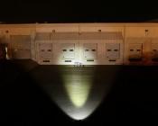 "4"" Dual LED Mini Auxiliary Work Light 20 Watt beam pattern on warehouse 50 feet"