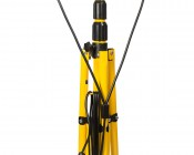 Dual Head Portable LED Work Lights with Tripod Stand - 3,600 Lumens: Showing Back View Utilizing Cord Management Hooks.