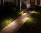 LED Landscape Path Lights - Dual Tier - 4 Watt: Warm White Lights On Front Walkway- Warm White