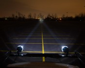 Cannon LED Work Light Dual Lights Installed On Top Of Truck 250 Feet From Trees