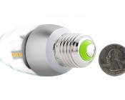 E27 LED Decorative Bulb - 9W Blunt Tip Candle Shape: Back View With Size Comparison