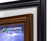 """LED Light Box Panels w/ Custom-Printed LUXART® Diffuser and Wood Frame - Ultra-Thin Dimmable Even-Glow® Light Fixtures - Stand-Alone or Surface Mount - 21""""x21"""", 21""""x45"""", 9""""x45"""""""