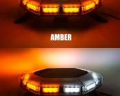 Emergency LED Light Bar - 360 Degree Strobing LED Mini Light Bar: On Showing Beam Pattern In Amber And Amber Plus White.