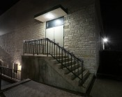 LED Canopy Light and Parking Garage Light - 100W - Natural White: Shown Installed Over Entryway.