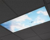 LED Skylight w/ Astronaut Skylens® - 2x4 - Dimmable - Flush Mount/Drop Ceiling Recessed Mount: Showing Similar Panel On.