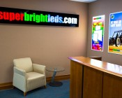 50W LED Panel Light Fixture - 2ft x 4ft: Shown Used As Signs In Brightly Lit Room.