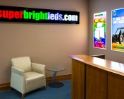 Even-Glow LED Panel Light - Balloon 2 LUXART Print - 2' x 4': Shown Used As Signs In Brightly Lit Room.