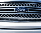 """Ford F-150 (09-2014) Hidden Grille LED Light Bar Mounts - 30"""" Straight Single Row LED Light Bars: Showing Installed Bar From Outside Grille."""