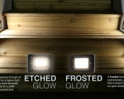 LED Step Lights - Rectangular Deck / Step Accent Light w/ Etched Lens - 12V or 120V: Etched Lights Shown On (Left) In Open And Louvered Face Plates Compared To Frosted Lights (Right).