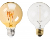 Flexible Filament LED Bulb - G25 Carbon Filament Style Bulb w/ Gold Tint - 20 Watt Equivalent - Spiral Quad Loop - Dimmable: Size Comparison to Incandescent Bulb